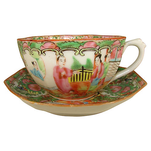 Rose Canton Cup & Saucer