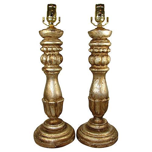 Italian Silver Gilt Lamps, Pair
