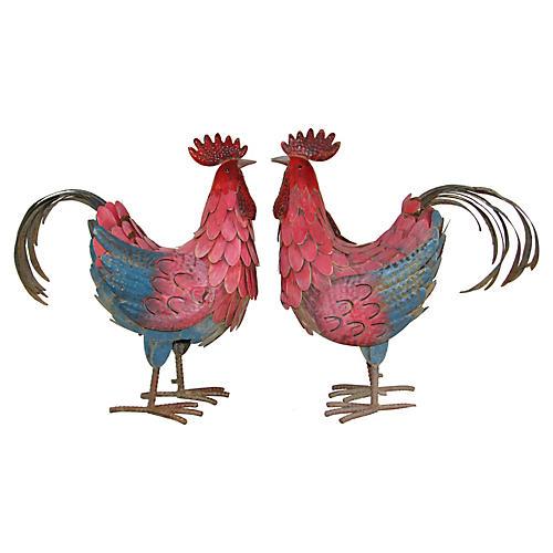 Painted Cockerels, Pair