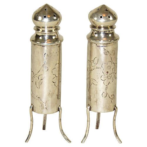 Sterling Silver Salt Shakers, Pair