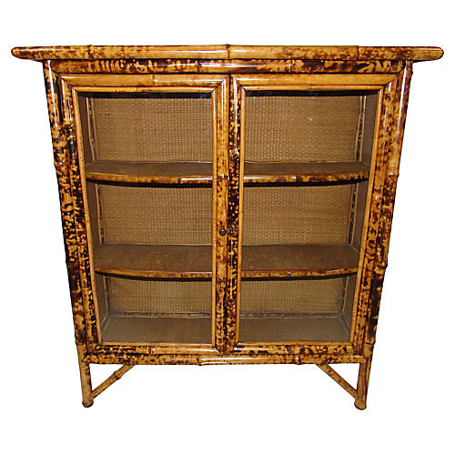 19th-C. Tiger Bamboo Bookcase