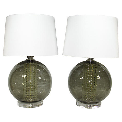 Spherical Glass Lamps, Pair