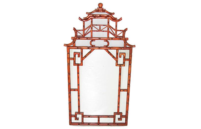 Antique English Faux Bamboo Mirror