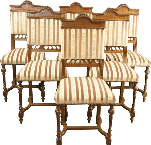 French Oak & Striped Damask Chairs, S/6