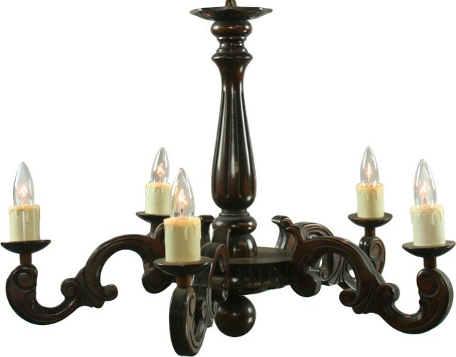 French Carved Dark Oak Chandelier