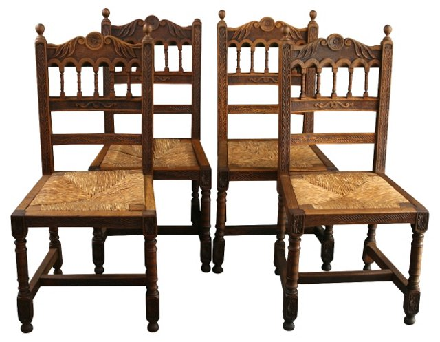 Brittany Chairs in Chestnut/Rattan, S/4
