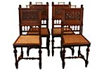 Oak Carved Chairs, S/4