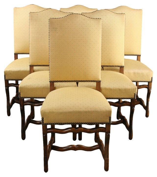 Upholstered Oak Chairs, S/6