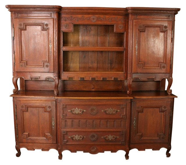 French Carved Oak Buffet, 1800