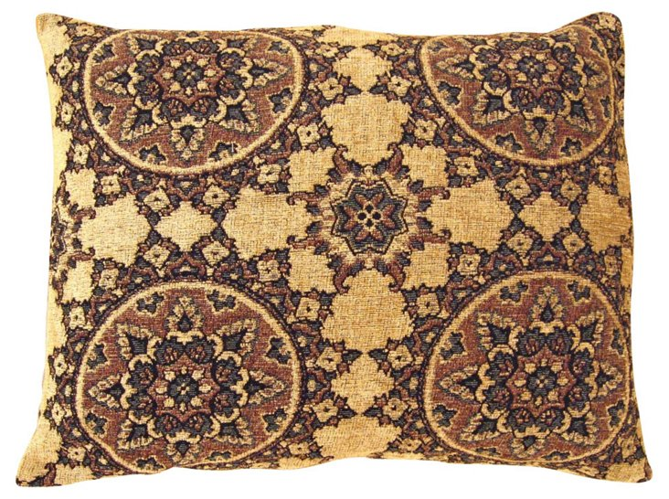 Brocade Tapestry Pillow, Circle Design