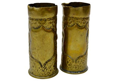 Trench Art Vases w/ Shield Design, S/2