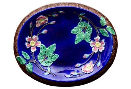 Majolica Floral Cobalt Platter