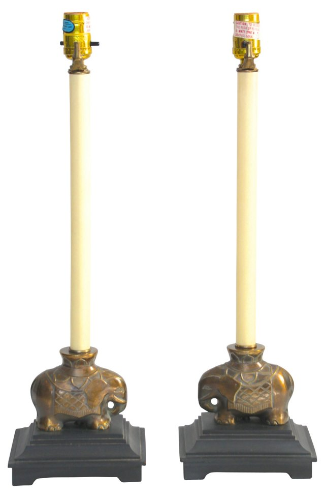 Elephant Lamps, Pair