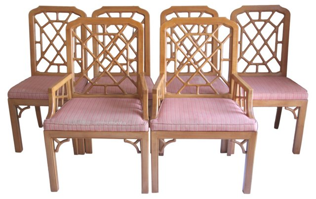 J. Widdicomb Fretwork Dining Chairs, S/6