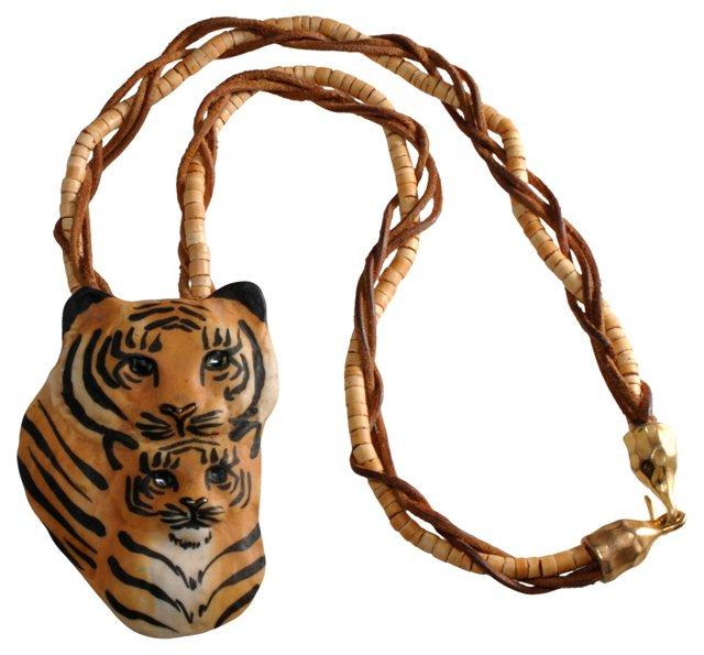 Artist Signed Porcelain Tiger Necklace