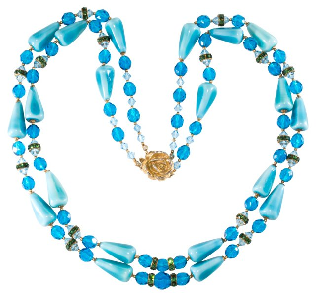 Turquoise Ceramic & Crystal Necklace