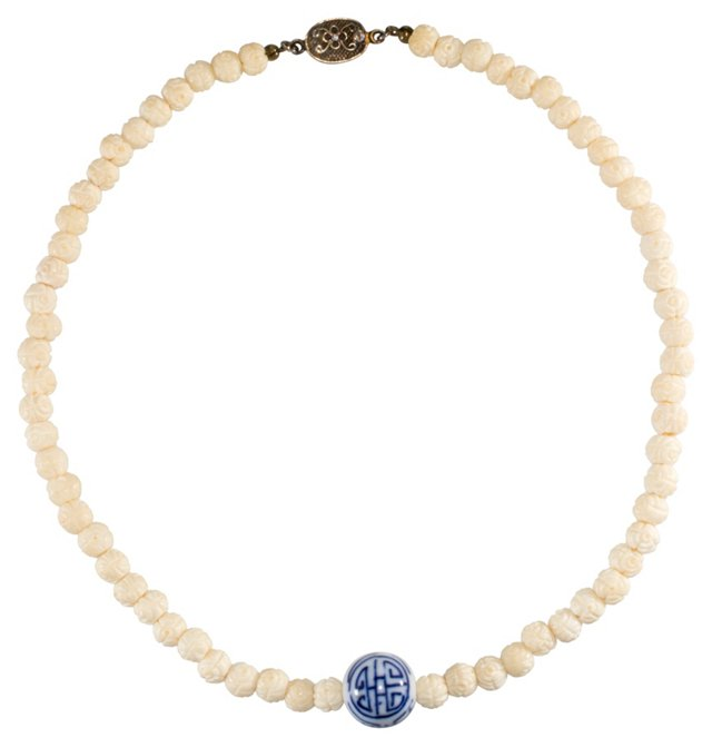 Blue & White Chinese Bead Necklace