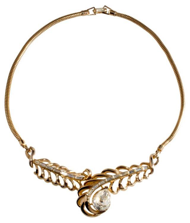 Corocraft Rhinestone Feather Necklace