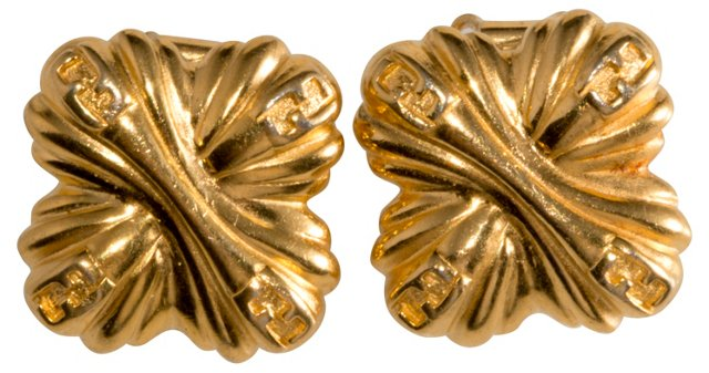 Fendi Zucca Print Goldtone Earrings