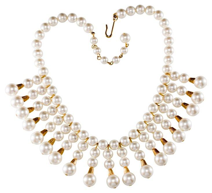 Faux-Pearl & Goldtone Fringe Necklace