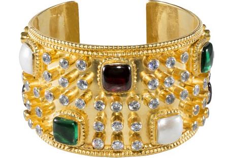 1980s Chanel Gripoix Glass & Cuff