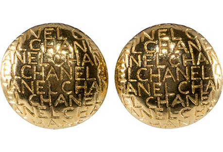 Chanel Lettering Domed Earrings