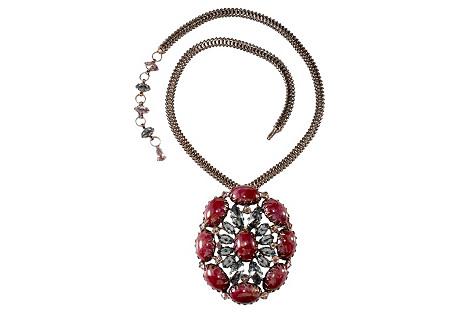Schreiner Art Glass Necklace w/ Brooch