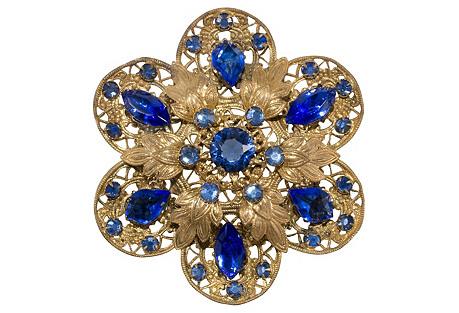 1930s Cobalt-Blue Filigree Brooch