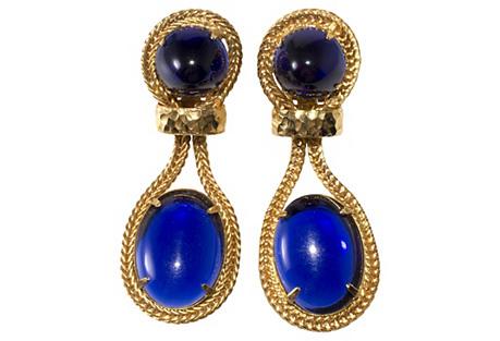 K.J.L. Blue Cabochon Earrings
