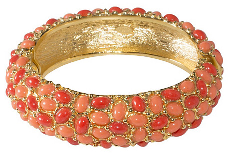 K.J.L. Coral-Colored Cabochon Bracelet