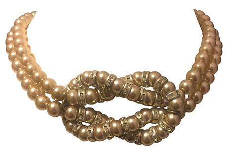 Monette Paris Faux-Pearl Knot Necklace