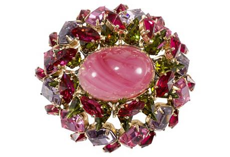1950s Schreiner Pink Rhinestone Brooch
