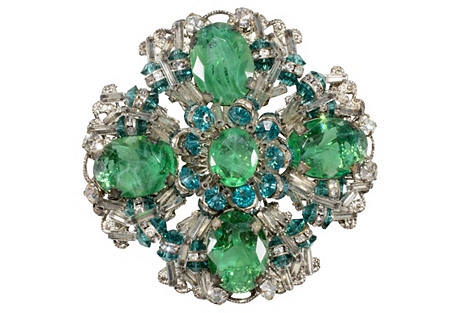 Miriam Haskell Emerald-Glass Brooch