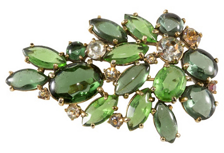 1950s Schiaparelli Green Spray Brooch