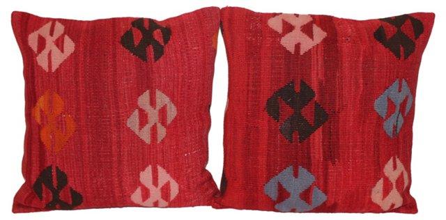 Turkish Kilim Pillows, Pair