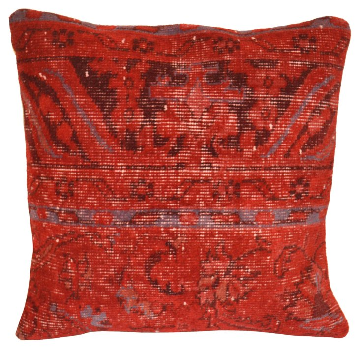 Red  Overdyed  Turkish Rug Pillow