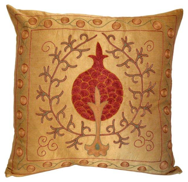 Pomegranate Design    Silk Pillow