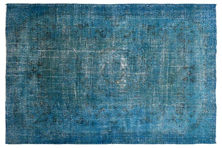 """Blue Overdyed Rug, 6'6"""" x 10'"""