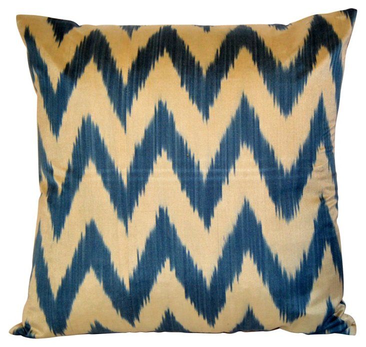 Blue Chevron Silk Ikat Pillow