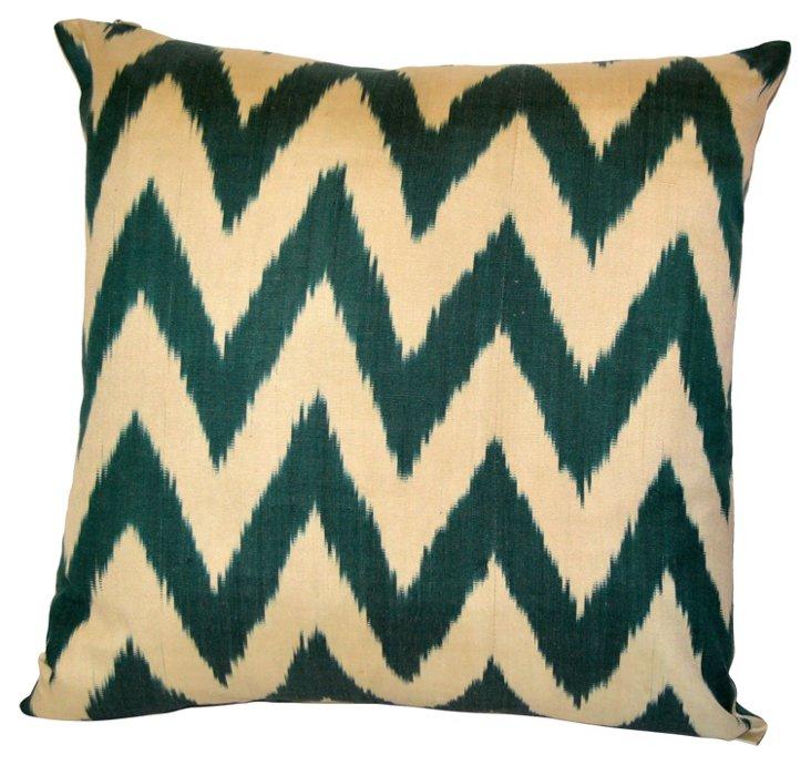 Green Chevron Silk Ikat Pillow