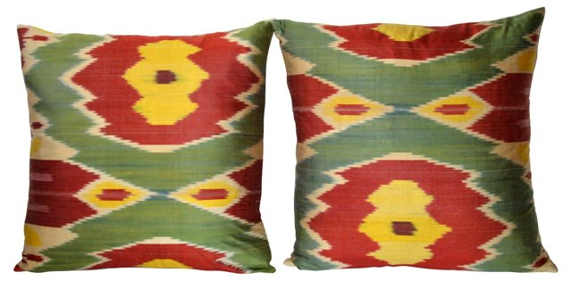 Uzbek Silk    Ikat     Pillows, Pair
