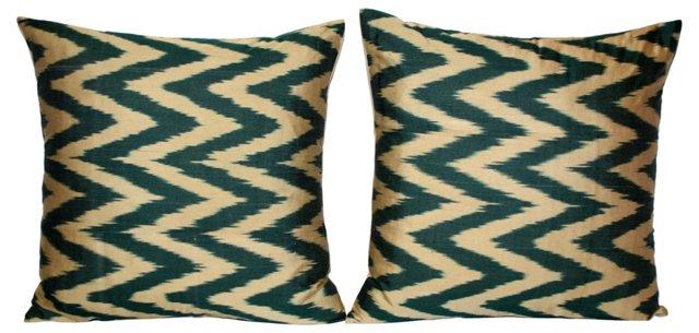 Chevron Silk   Ikat  Pillows, Pair