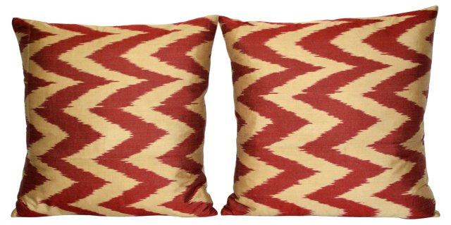 Silk  Chevron   Ikat Pillows, Pair