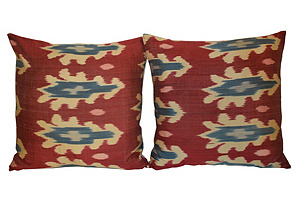 Multicolor Silk Ikat       Pillows, Pair