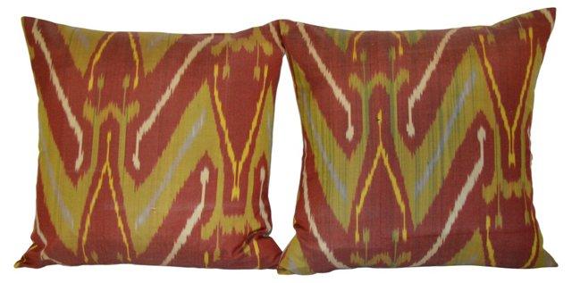 Rust  Silk Ikat Pillows, Pair