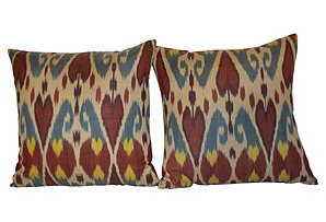 Handmade Silk  Ikat Pillows, Pair