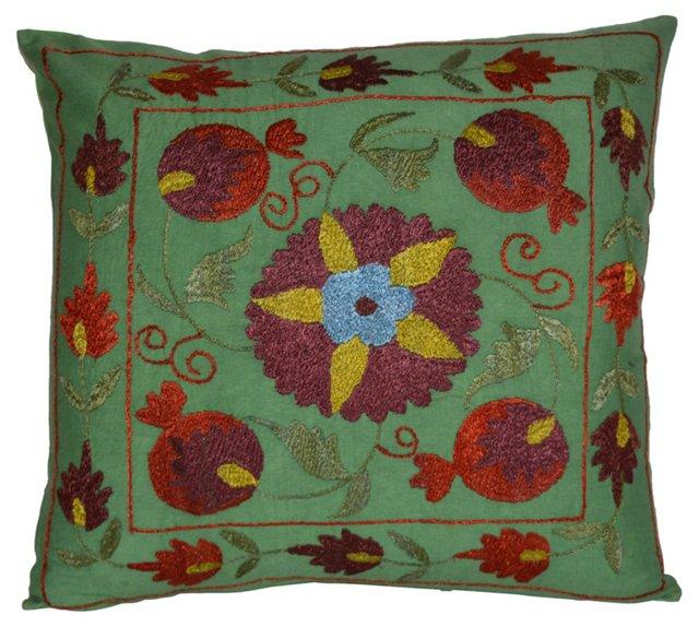 Green Silk Suzani Pillow