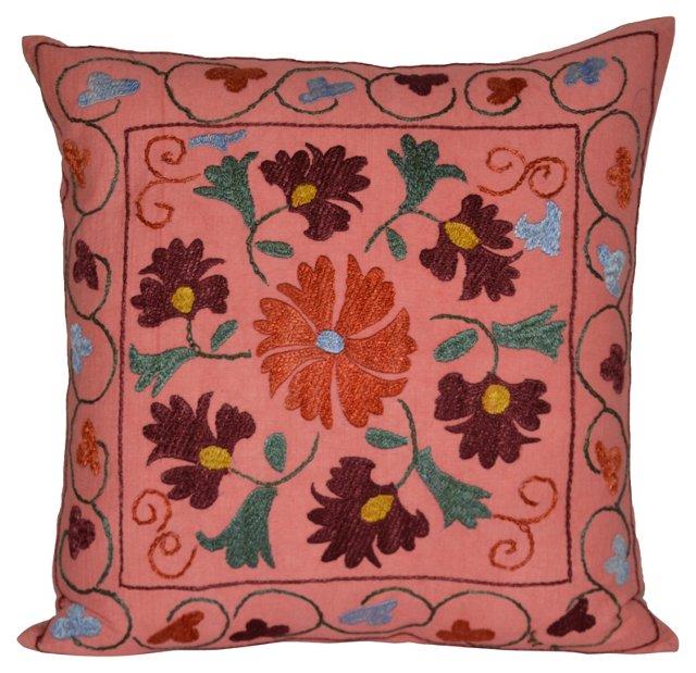 Silk  Pink Suzani   Pillow