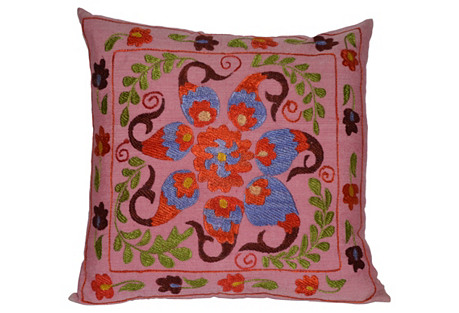 Pink   Silk Suzani Pillow