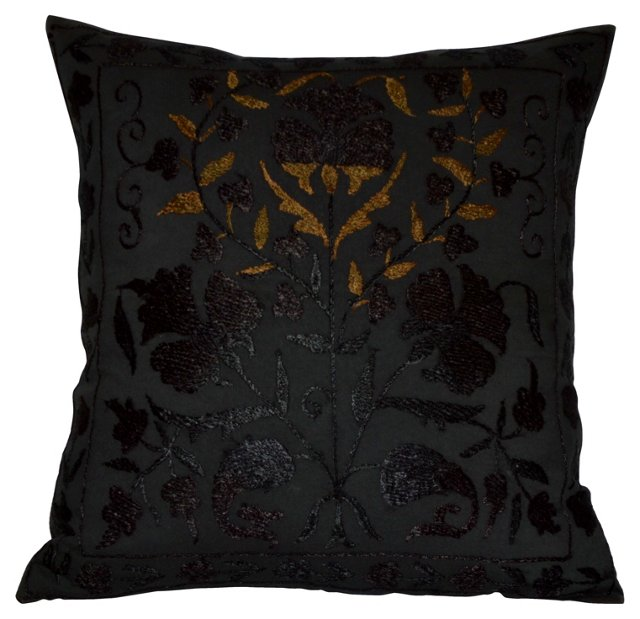 Black Suzani Silk Pillow